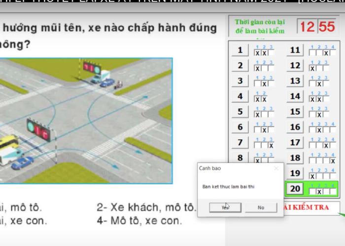thi bằng lái xe trên máy tính